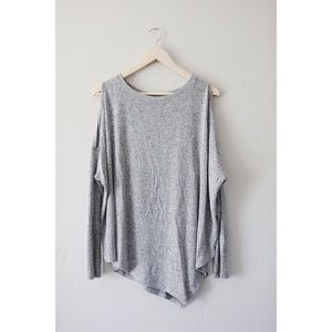 Cold shoulder heather gray a-symmetrical sweater